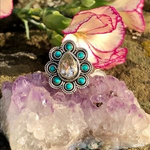 NEW! Green Amethyst & Turquoise Ring